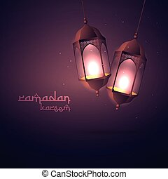 ramadan kareem greeting with hanging lamps