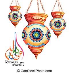 illustration of Ramadan Kareem greeting in Arabic freehand with illuminated lamp