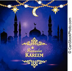 Ramadan Kareem greeting with mosque