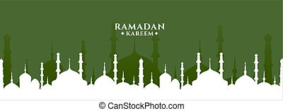 ramadan kareem greeting with mosque design banner