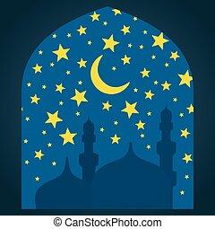 Ramadan Kareem greeting with mosque on night background