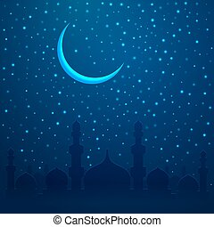Ramadan Kareem greeting with mosque on night cityscape background