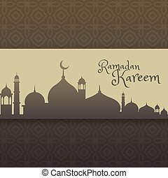 ramadan kareem greeting with mosque silhouette