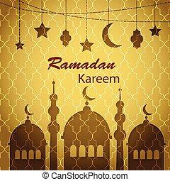 Ramadan Kareem greetings background with hanging lanterns,...