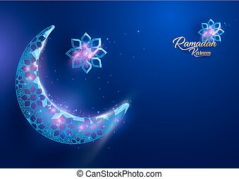 Ramadan Kareem greetings card design with crescent moon form of a starry sky on blue background