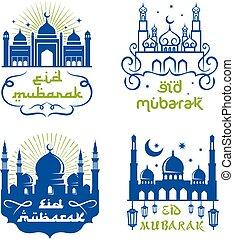 Ramadan Kareem greetings set with mosque, lantern