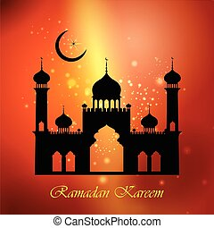 Ramadan Kareem Happy background with Islamic Mosque