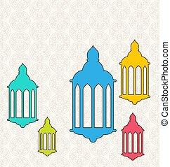 ramadan, kareem, hintergrund, mit, bunte, lampen, (fanoos)