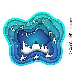 ramadan, kareem, hintergrund, moschee, laternen, mond, camels., islamisch, design, schneiden papier, schablone