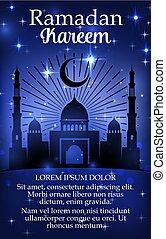 Ramadan Kareem holiday poster with mosque
