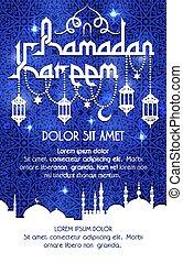Ramadan Kareem holiday vector greeting poster