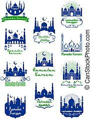 Ramadan Kareem icon with mosque and moon