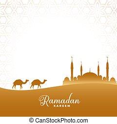 ramadan kareem illustration desert scene with camel and mosque