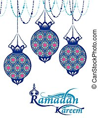 Ramadan Kareem greeting with beautiful illuminated arabic lamp and hand drawn calligraphy lettering. Vector illustration