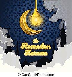 Ramadan Kareem in 3D Cartoon Word with Silhouette of Prophet Muhammad's Mosque, Clouds, Crescent Moon and Luminous Lantern