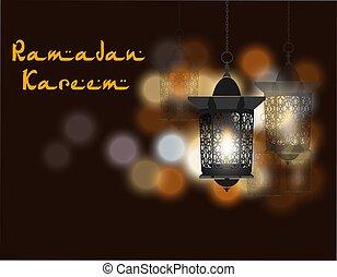 Ramadan Kareem inscription. Three flashlights in oriental style. Against the background of colored lights. illustration