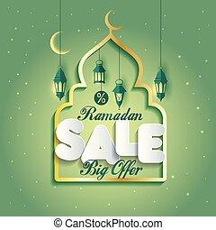 Ramadan Kareem Islamic Arabic design illustration with mosque.