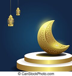Ramadan kareem islamic background with moon and lantern