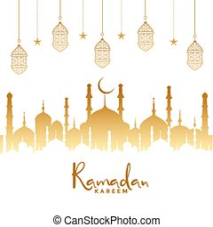 ramadan kareem islamic background with mosque and lamps