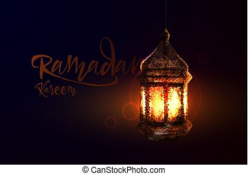 Ramadan Kareem islamic greeting design arabic pattern lantern and calligraphy
