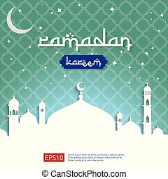 Ramadan Kareem islamic greeting design with dome mosque and moon and stars on sky element. background Vector illustration.