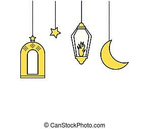 Ramadan Kareem lamps hanging