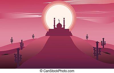 Ramadan kareem landscape with mosque silhouette islamic. vector design illustration on dark pink background