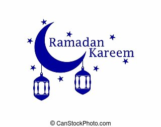 Ramadan Kareem Lantern And Moon Muslim Holiday Lights Banner Isolated On White Background