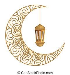 ramadan kareem lantern hanging with crescent moon golden on white background