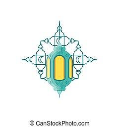 ramadan kareem lantern hanging with mandala