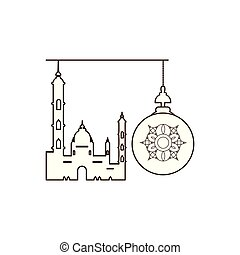 ramadan kareem lantern hanging with mosque building