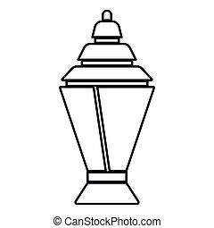 Ramadan kareem lantern or fanous icon black color illustration flat style simple image
