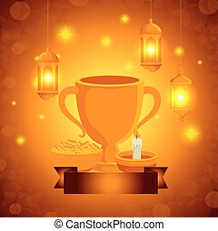 ramadan kareem lanterns hanging and chalice cup