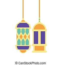 ramadan kareem lanterns hanging icons