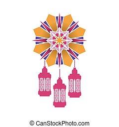ramadan kareem lanterns hanging in mandala