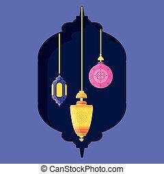 ramadan kareem lanterns hanging
