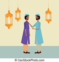 ramadan kareem lanterns hanging with men group
