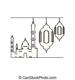 ramadan kareem lanterns hanging with mosque building