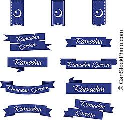 ramadan, kareem., lem, dát, do, blue., vektor, ilustrace, eps10