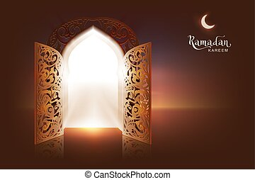 Ramadan Kareem lettering text greeting card. Open door to...