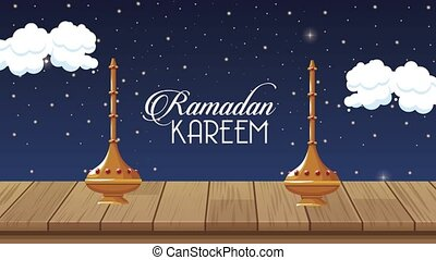 ramadan kareem lettering with golden chalices ,4k video animated