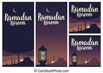 Ramadan kareem lettering with lamp, minarets, crescent, star...