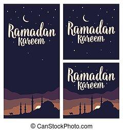 Ramadan kareem lettering with minarets, crescent, star in...