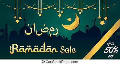 ramadan kareem luxury background sale with mosque template design Premium