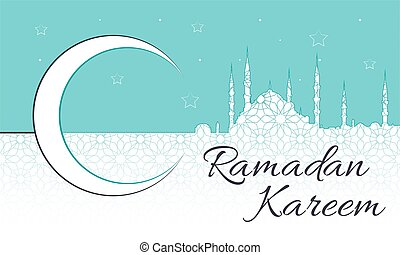 Ramadan Kareem Message with blue mosque silhouette in a crescent