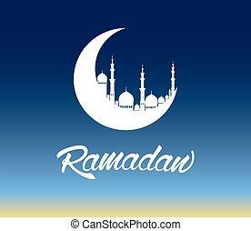 Ramadan Kareem moon - Ramadan moon with beautiful mosque