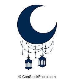 ramadan kareem moon with lamps hanging