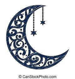 ramadan kareem moon with stars hanging