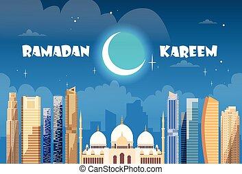 ramadan, kareem, moslem, religion, heilig, monat
