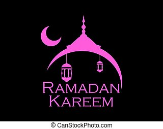 Ramadan Kareem Mosque And A Crescent Lantern Moon Muslim Holiday Lights